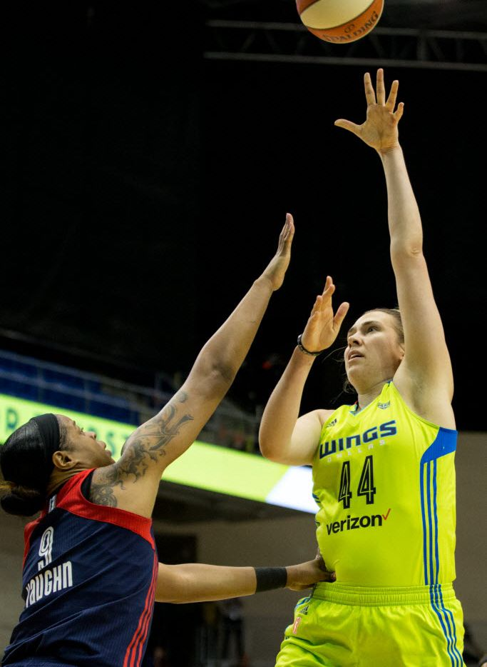 Dallas Wings center Ruth Hamblin (44) shoots pass Washington Mystics center Kia Vaughn (9) during the second quarter of a WNBA basketball game at College Park Center on June 8, 2016 in Arlington. (Ting Shen/The Dallas Morning News)