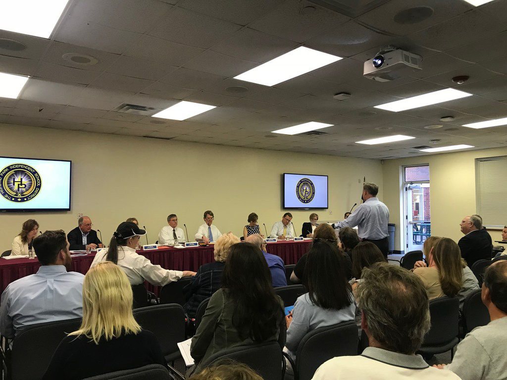 Nearly 100 residents showed up at a recent Highland Park ISD school board meeting. Several of them asked the board to hold off on plans to remake John S. Bradfield Elementary from a two-story to a three-story building.