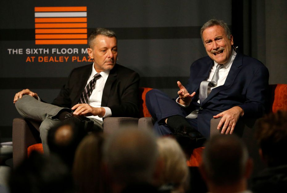 """Larry Sabato (right), political analyst, spoke alongside journalist Philip Shenon during a panel discussion, """"What has the Government Been Hiding? 54 Years of Secrets & the Release of the JFK Records"""" at the Sixth Floor Museum in Dallas on Saturday."""