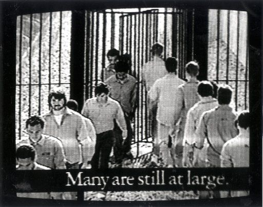 This still picture from a 1988 Bush ad shows the revolving prison door policy of Democrat Mike Dukakis. [re: Willie Horton controversy]