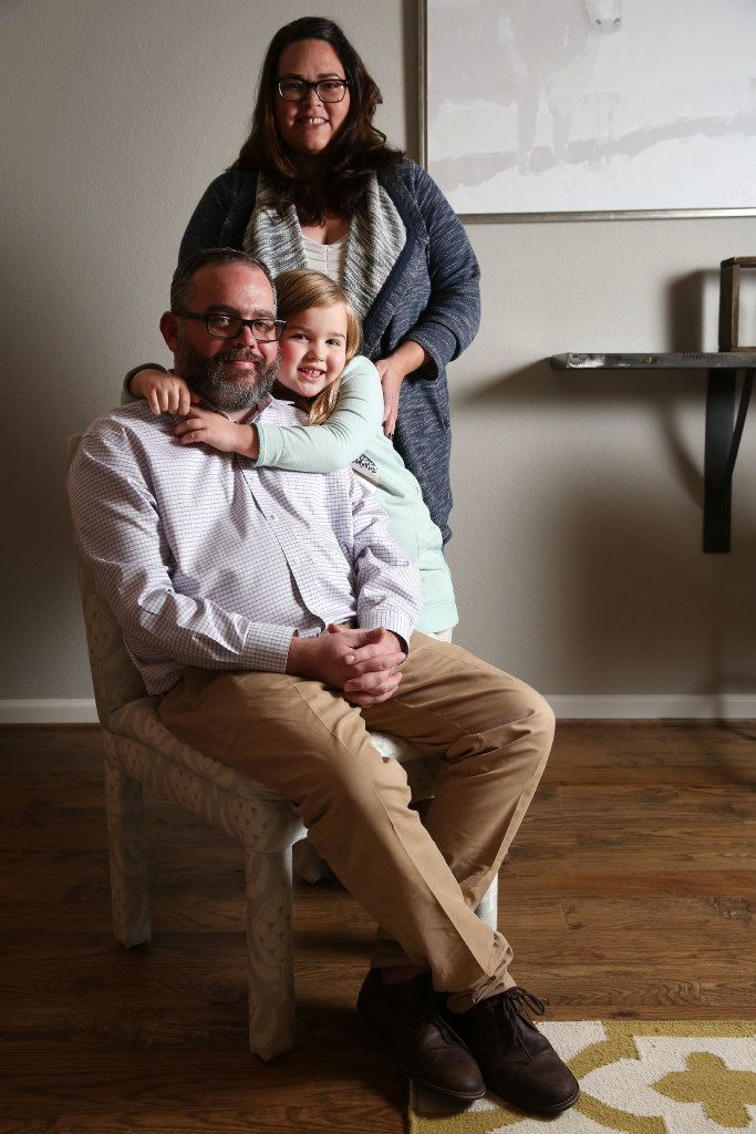 Eric and Lynley VanSingel pose for a photograph with their daughter Ada VanSingel, 7, at their home in Richardson, Texas on Thursday, Dec. 8, 2016. Eric used the Q. Care app, which summons medical help to your location, when his daughter became lethargic one night. (Rose Baca/The Dallas Morning News)