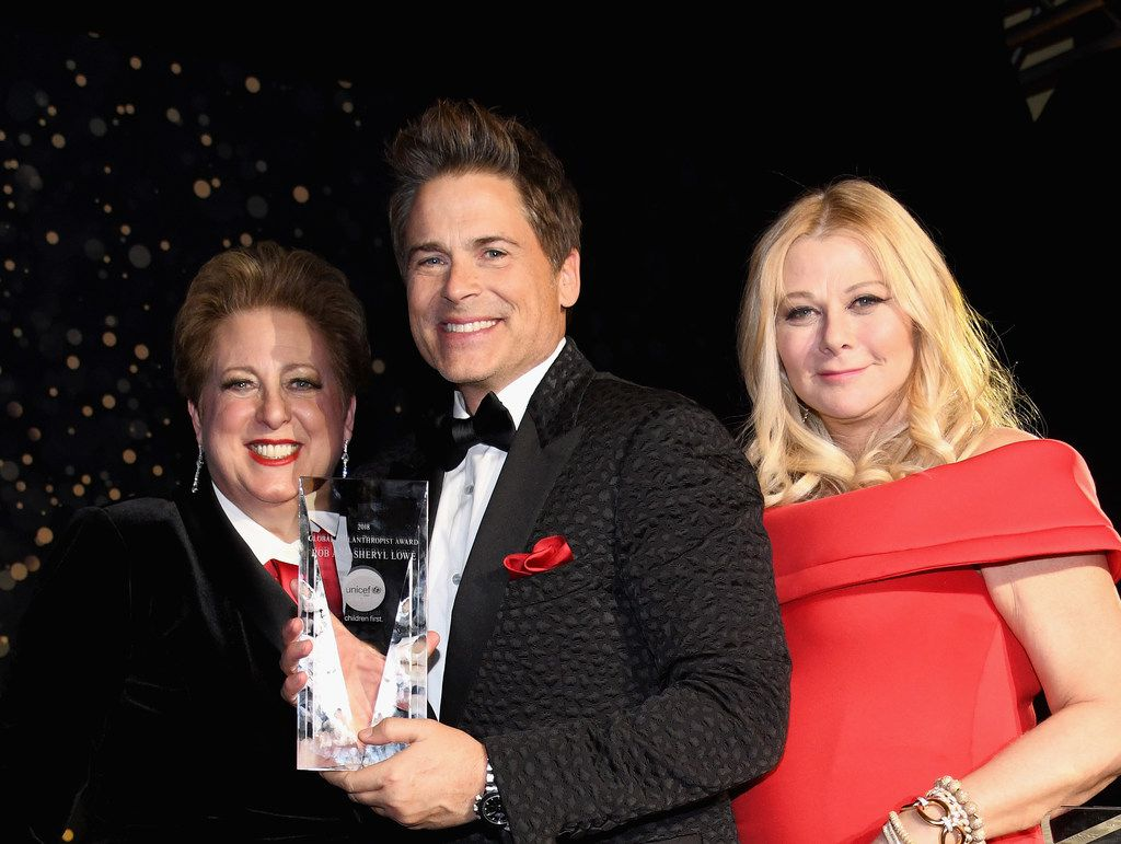 From left: CEO and president of UNICEF USA Caryl Stern is shown with honoree and Global Philanthropist Award recipients actor Rob Lowe and designer Sheryl Lowe at the UNICEF Gala.