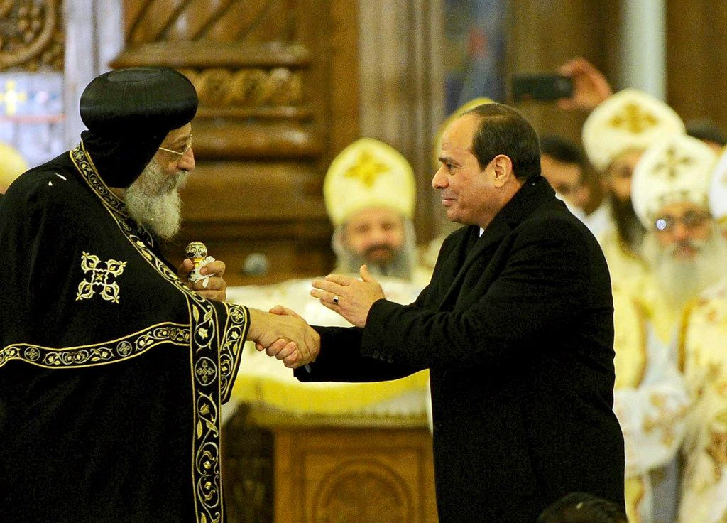 In this Jan. 6, 2019 photo, Egyptian President Abdel-Fattah el-Sisi (right) greets Coptic Pope Tawadros II, before the Christmas Eve Mass, at the new Cathedral of the Nativity of Christ, in the new administrative capital, east of Cairo, Egypt in Egypt's new Administrative Capital. El-Sisi on Sunday inaugurated the new cathedral for the Coptic Orthodox Church and one of the region's largest mosques in a highly symbolic gesture at a time when Islamic militants are increasingly targeting the country's minority Christians. (The Associated Press)