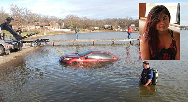 Foto de la búsqueda del auto de Brenda Montañez en un lago en Log Cabin, Texas. CORTESIA: LOG CABIN POLICE DEPARTMENT
