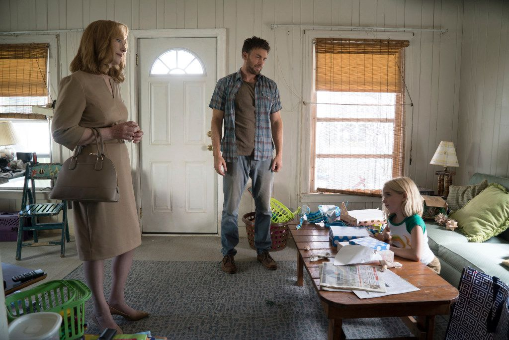 """In this image released by Fox Searchlight Pictures, Lindsay Duncan, from left, Chris Evans and McKenna Grace appear in a scene from, """"Gifted."""""""