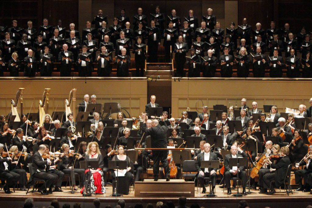 The Dallas Symphony Orchestra and Dallas Symphony Chorus, L-R with mezzo-soprano Michelle DeYoung, soprano Twyla Robinson, tenor Clifton Forbis and bass Raymond Aceto, perform Mahler III Hochzeitsstuck (Wedding Piece) with DSO conductor Jaap Van Zweden, on Friday, May 27, 2016 at the Morton H. Meyerson Symphony Center in Downtown Dallas.
