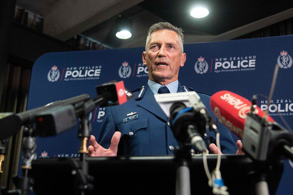 New Zealand police Commissioner Mike Bush speaks to the media after an attack on two mosques in Christchurch.