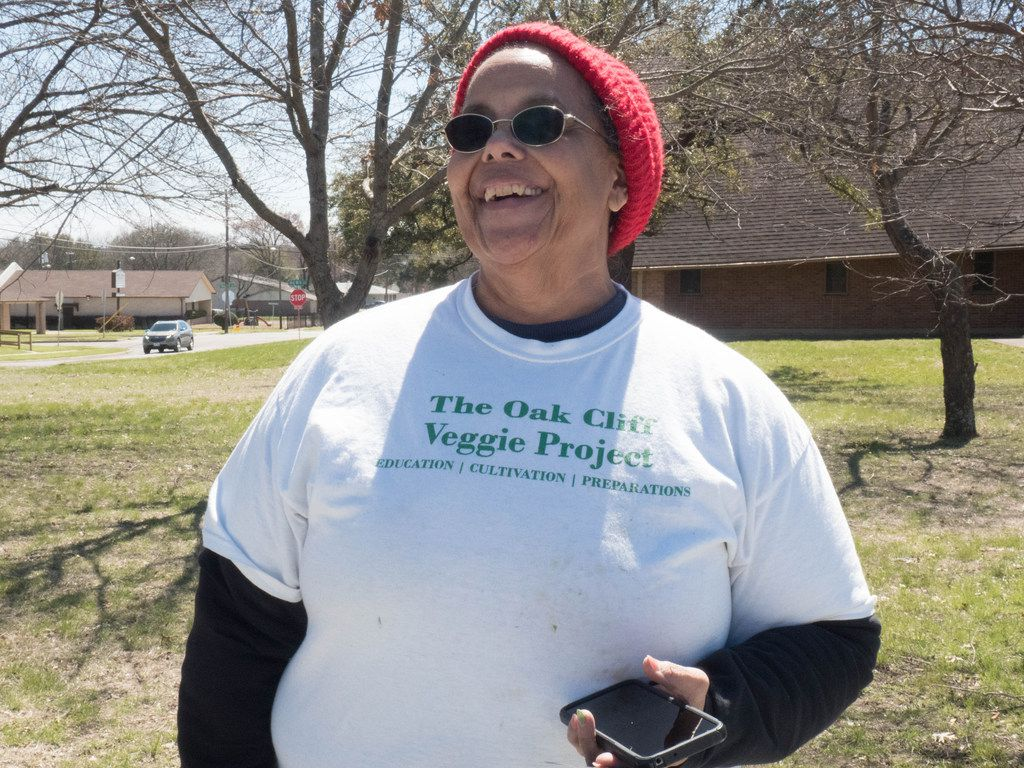 Bettie Montgomery, of the Oak Cliff Veggie Project, is all smiles in Dallas, Saturday, March 16 2019. Each third Saturday of the month this initiative provides fresh vegetables to the community free of charge (Clarence Hodrick III/Special Contributor)