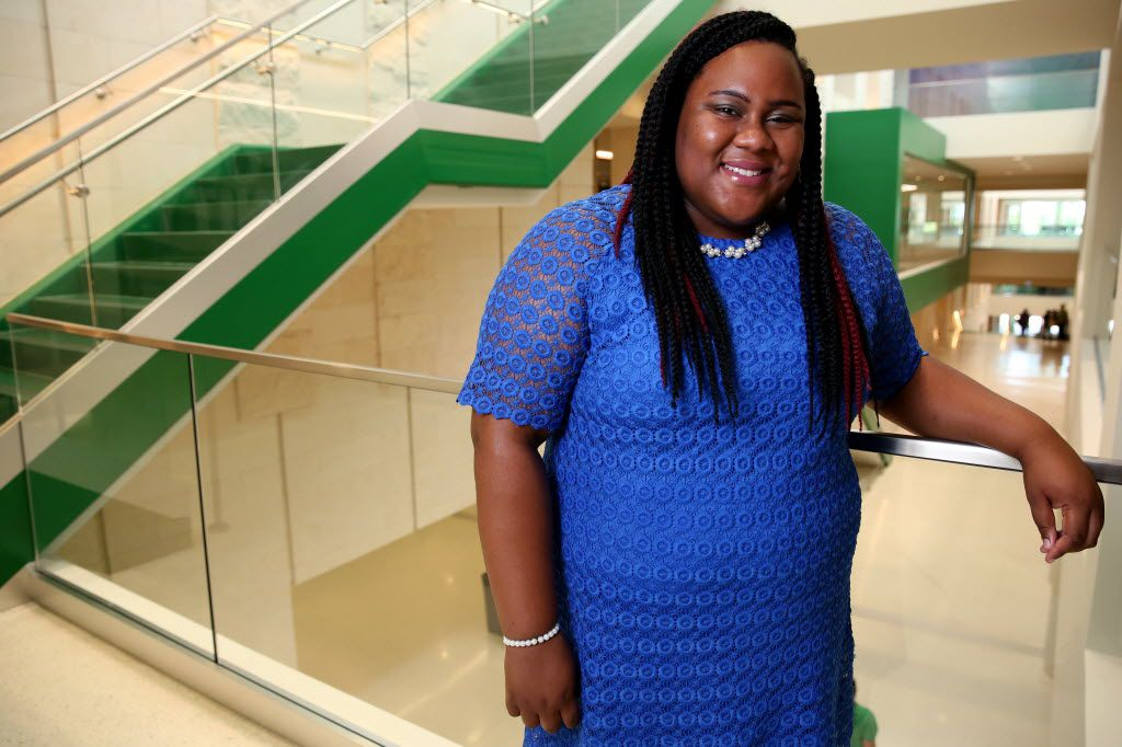 Jadzia Hardeman, a UNT student, is an Emerald Eagle Scholar, a program that provides guaranteed tuition and fees to students with financial need.