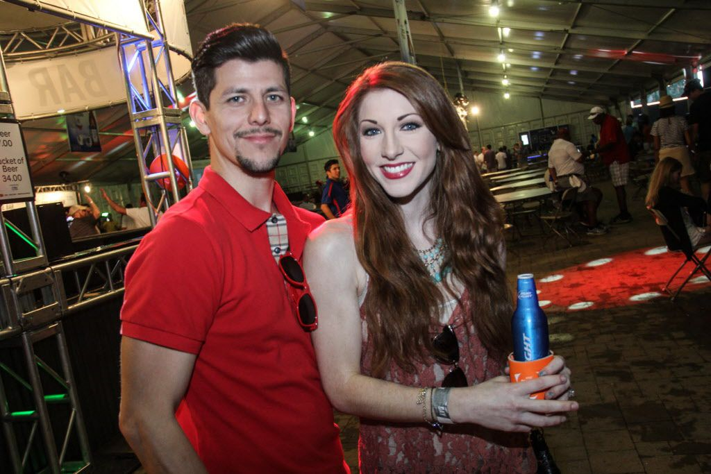 Joe Rodriguez and Brenna Griffin at the Le Freak concert after the AT&T Byron Nelson on Saturday.