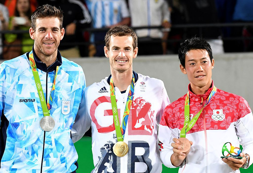 Andy Murray (centro), Juan Martin Del Potro (izq) y Kei Nishikori. (LUIS ACOSTA/AFP/Getty Images)