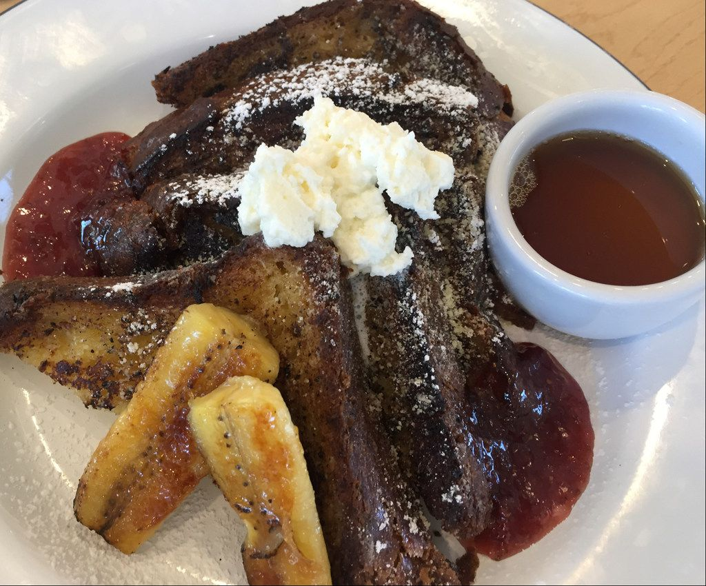 The Brioche French Toast at The Market at Bonton Farms includes house made jam & Whip Cream and Bruleed Bananas. in Dallas. (Irwin Thompson/The Dallas Morning News)