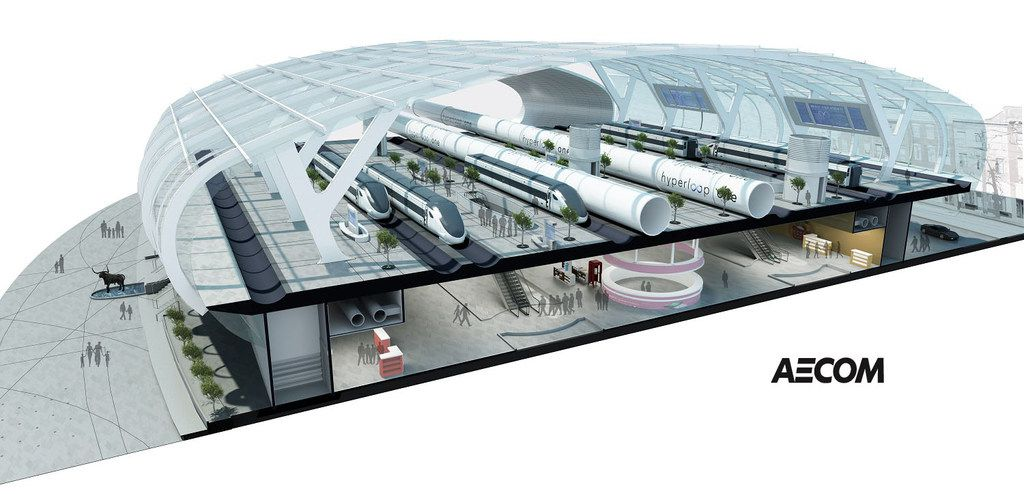 """A conceptual rendering demonstraing how a Hyperloop station could be built offering options to travel by either the high-speed rail """"bullet train"""" (left, on tracks) or the Hyperloop (tubes, right). AECOM sees the two transportation modes as complimentary."""