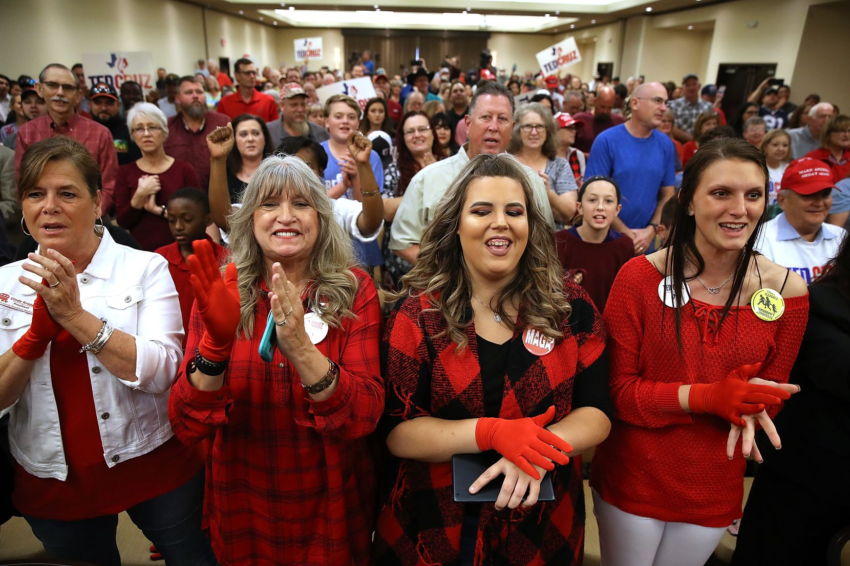 Supporters cheer during Ted Cruz's speech in Victoria on Saturday.