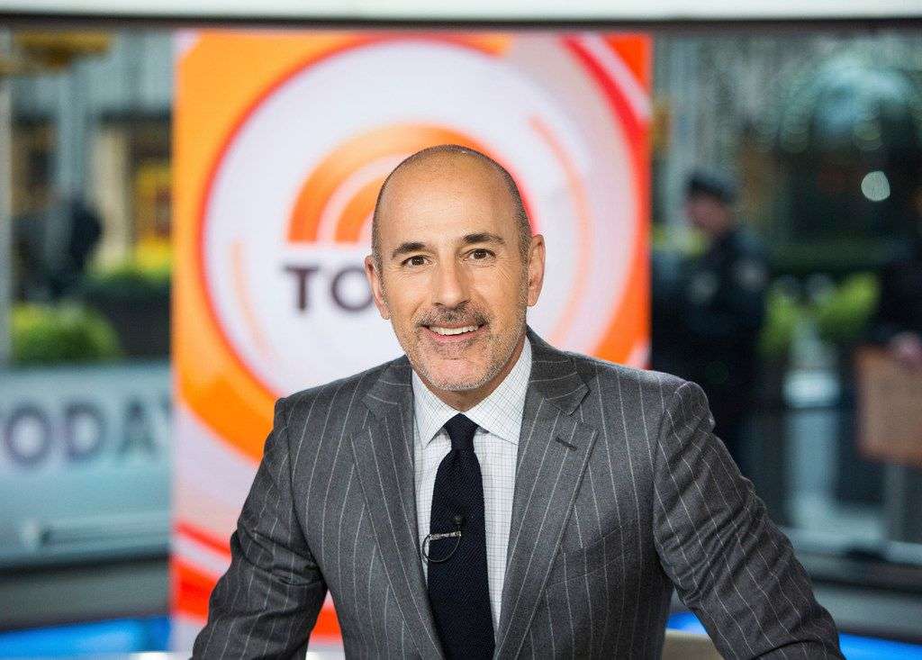 """This Nov. 8, 2017 photo released by NBC shows Matt Lauer on the set of the """"Today"""" show in New York. On the week host Matt Lauer was fired because of sexual misconduct charges,"""