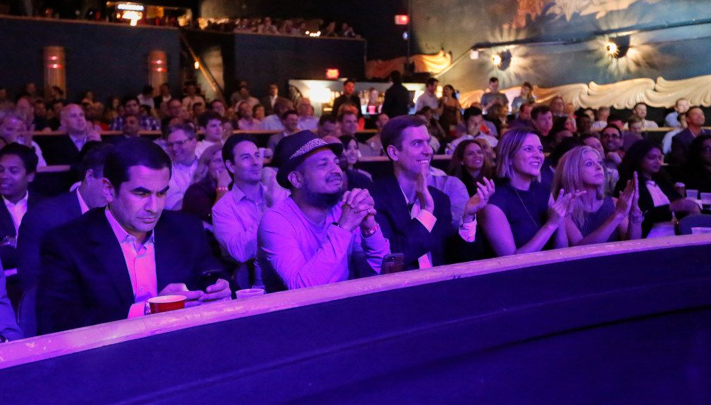 """The audience reacts to a rebuttal during one of the """"fights"""" at Digital Fight Club held at the Granada Theater  in Dallas on Wednesday. Topics of the fights included driverless cars, smart homes and artificial intelligence."""