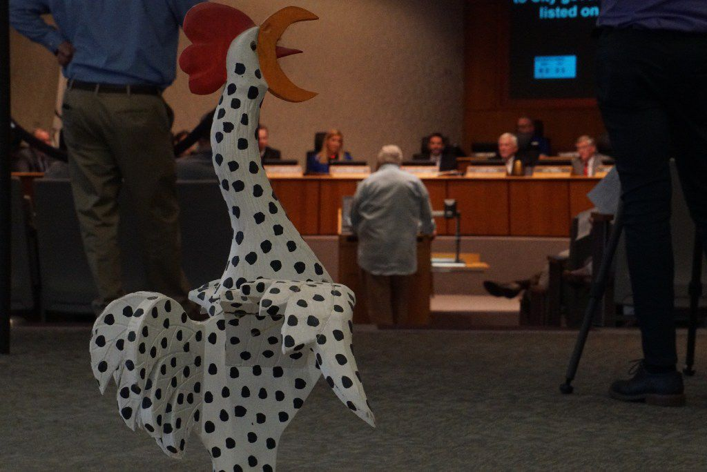 Several residents came to hear the city council's decision on the chicken ordinance limiting the amount of chickens and roosters residents can have on their property during a council meeting at City Hall in Irving, Texas on April 6, 2017.