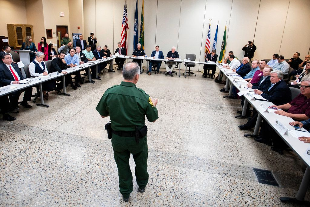 U.S. Border Patrol, RGV Sector, Chief Manuel Padilla makes a presentation to roundtable discussion at the Weslaco Border Patrol Station on Friday, June 22, 2018, in Weslaco, Texas. Senators John Cornyn and Ted Cruz held the roundtable with representatives of federal agencies, non-profits and local elected officials involved in handling immigrant families.