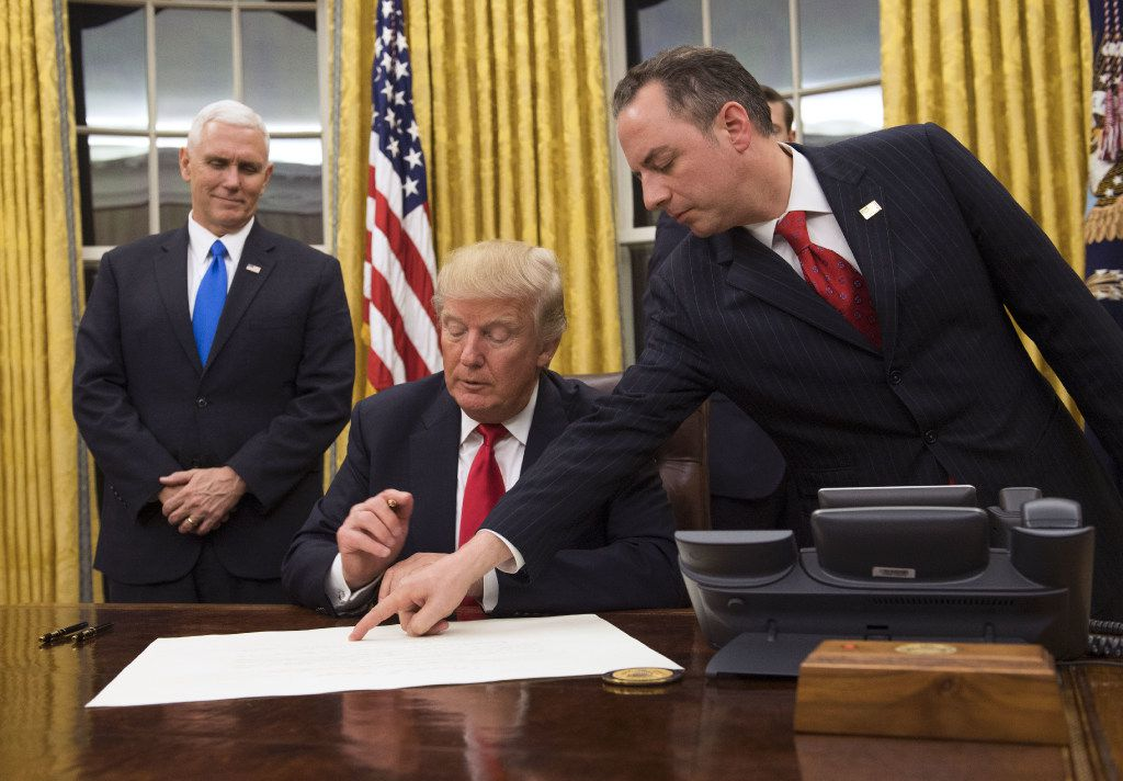 President Donald Trump signed confirmations for his first two Cabinet members, Defense Secretary James Mattis and Homeland Security Secretary John Kelly.