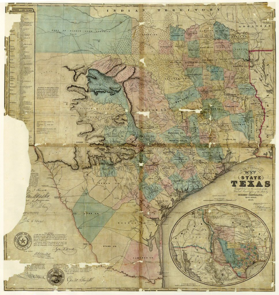 J. De Cordova's Map of the State of Texas, compiled from the records of the General Land Office by Robert Creuzbaur, Creation Date: 1849, Draftsman: Robert Creuzbaur.