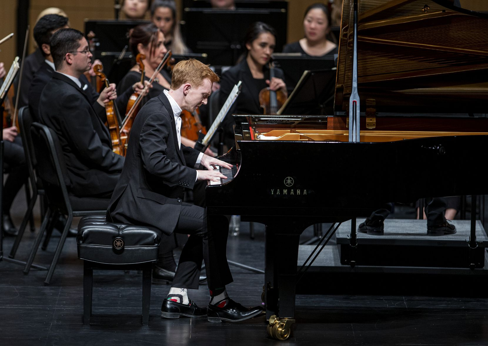 Pianist Christopher Goodpasture performs during the season-opening concert by the Dallas Chamber Symphony at Moody Performance Hall in Dallas on Oct. 22, 2019.