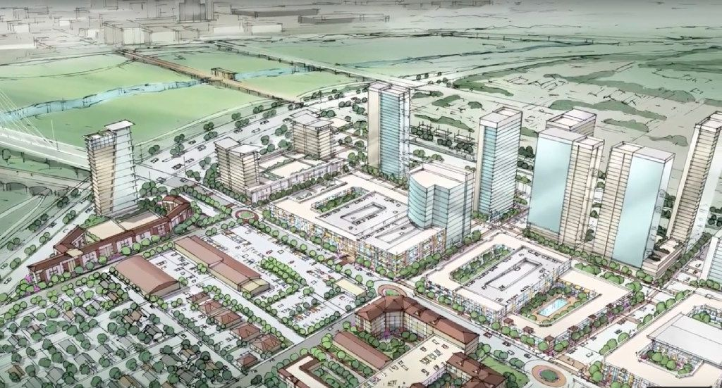 A rendering of the master plan for the 100-acre Trinity Groves project in West Dallas. Trinity Groves is part of a boom in West Dallas, just past the foot of the Margaret Hunt Hill Bridge. Nearby neighborhoods are seeing property values rise. Many worry without intervention, the boom will push long-time residents out.