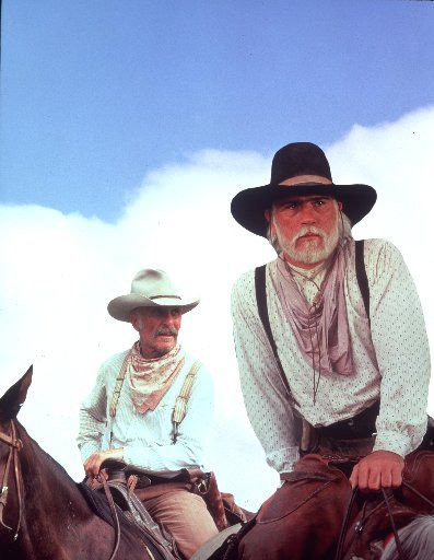 Robert Duvall, left and Tommy Lee Jones in the TV miniseries, Lonesome Dove.