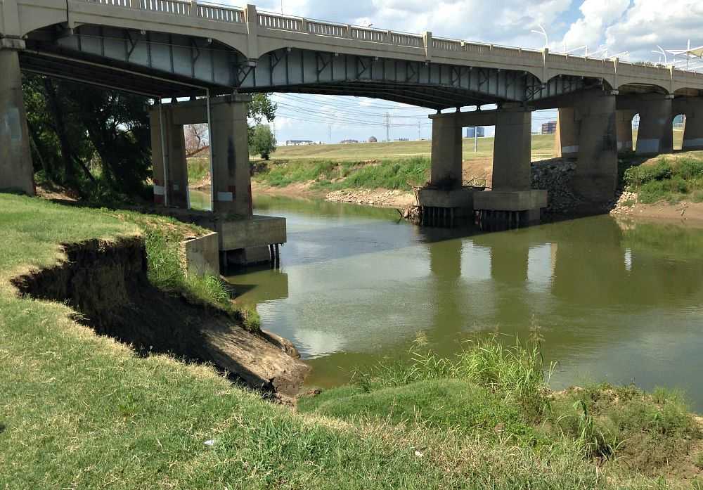 City officials say the erosion along the Trinity is the result of the spring 2015 flooding.