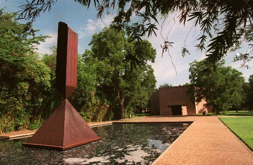 From 1964 to 1967 Rothko worked on his third and last commission in an interdenominational chapel in Houston designed by Philip Johnson which is now called 'The Rothko Chapel.' The Chapel is famous for the black panels inside on the walls which were painted by Rothko. Shown here is a sculpture by Barnett Newman outside  the chapel.