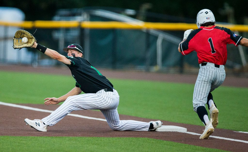Southlake Carroll's Grant Golomb stretches to catch a throw to first to retire Flower Mound Marcus' Brendan Concannon (1) during the third inning of Carroll's 7-1 win in Game 2 of a Class 6A Region I quarterfinal series Friday. (Ashley Landis/The Dallas Morning News)