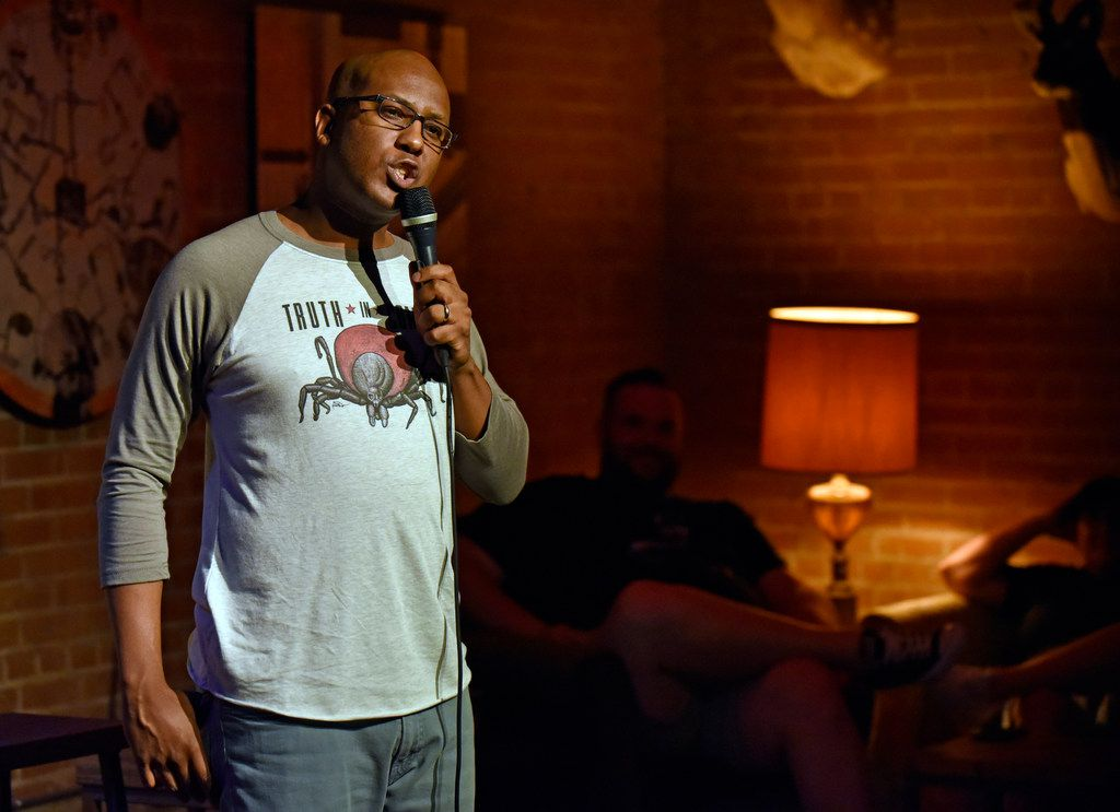 Comedian Byron Stamps performs during the Truth in Comedy show at Full City Rooster in Dallas on June 3, 2018. Stamps is also the creator of the show, where pre-selected individuals share personal stories and a comedian creates a set based on the story.