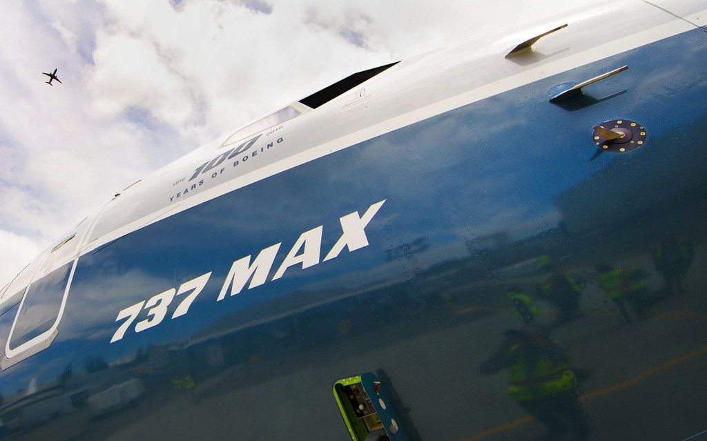 An angle-of-attack sensor can be seen at far right, near the nose of a 737 MAX at Boeing Field in Seattle. (Mike Siegel/Seattle Times/TNS)