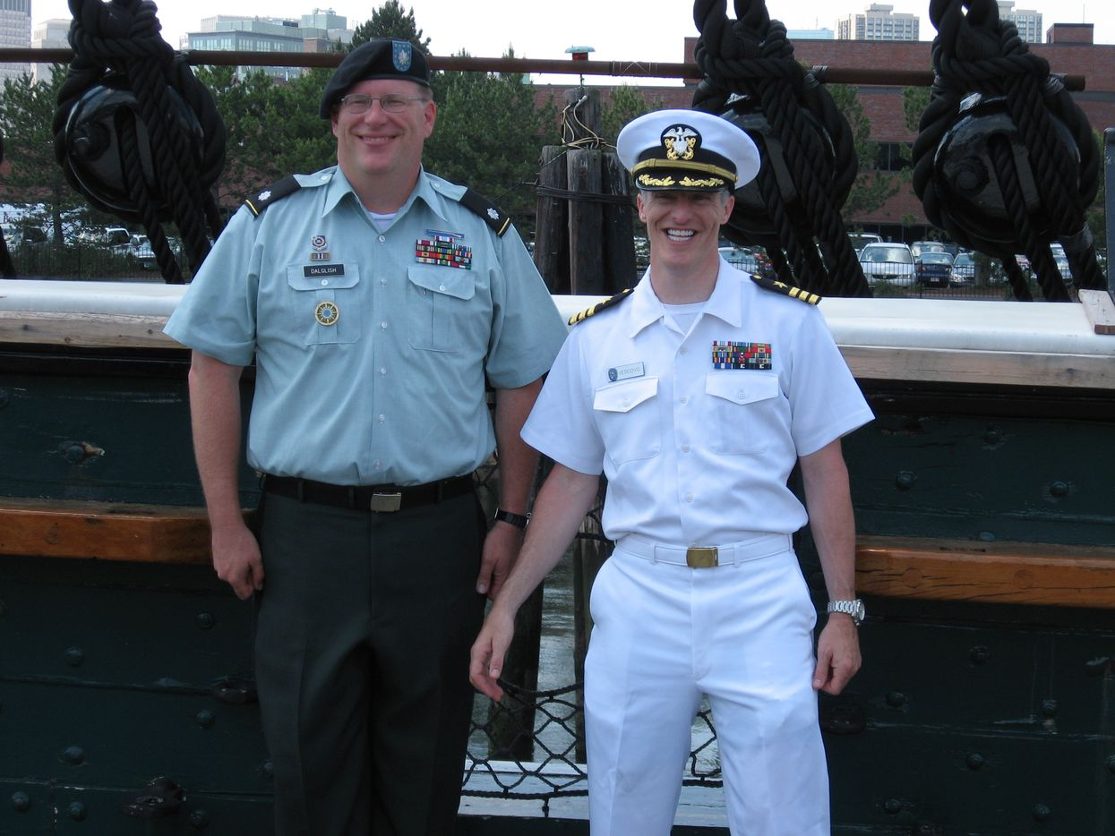 Victor Vescovo (right) was promoted to commander in 2010.