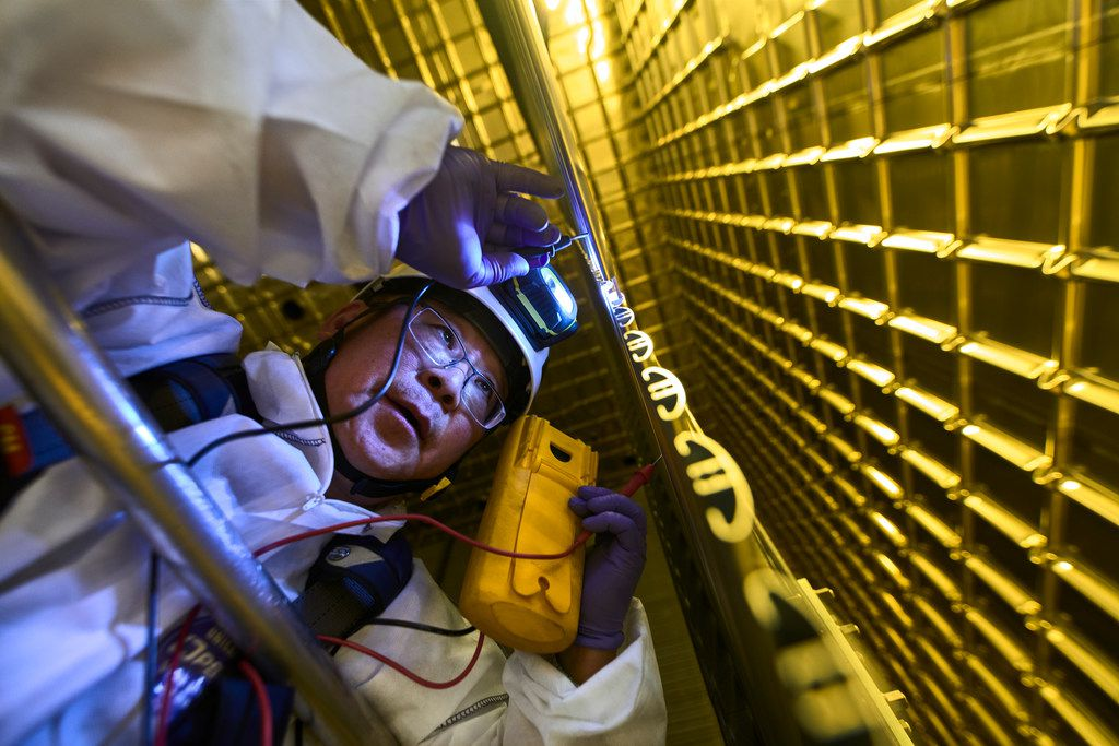 Jaehoon Yu, UT-Arlington professor of physics, at work on the DUNE prototype detector at CERN, the European Center for Nuclear Research in Switzerland.