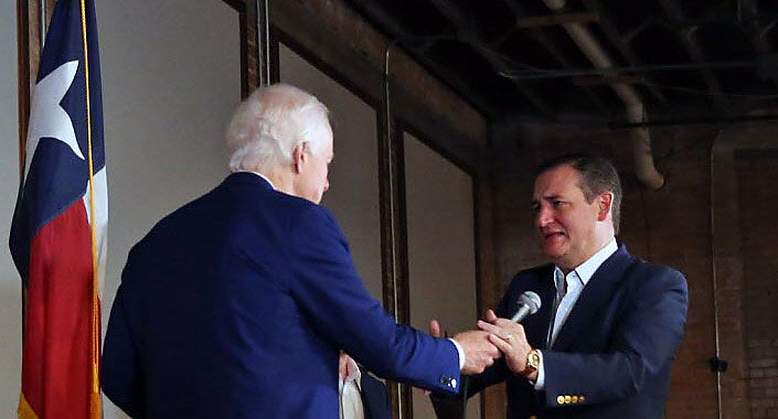 Texas Sen. Ted Cruz takes the mic following an introduction by fellow Sen. John Cornyn at an October 2018 campaign rally at Gilley's in Dallas. After Cruz's surprisingly narrow win over Democratic challenger Beto O'Rourke, Cornyn is getting an early start on his 2020 re-election campaign.