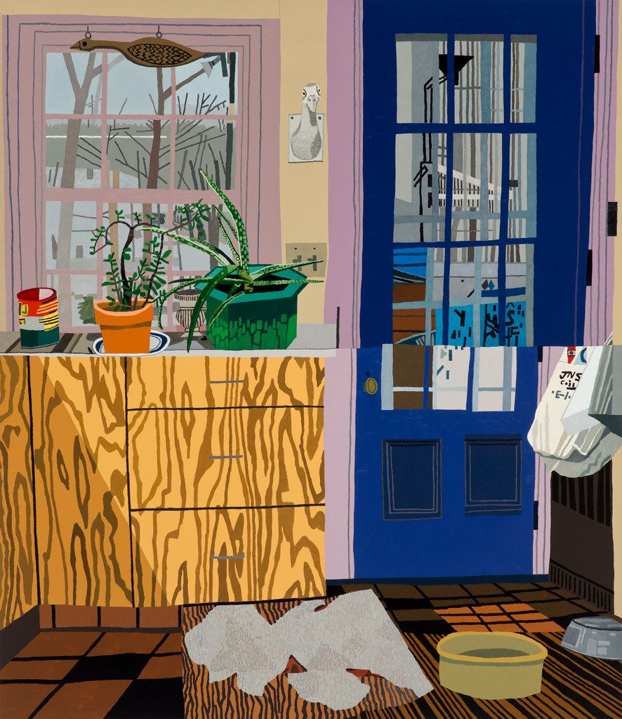 Jonas Wood, Kitchen with Jade and Aloe Plants, 2013, oil and acrylic on linen, 88 x 76 in., collection of Richard Prince, courtesy the artist and Anton Kern Gallery, New York.