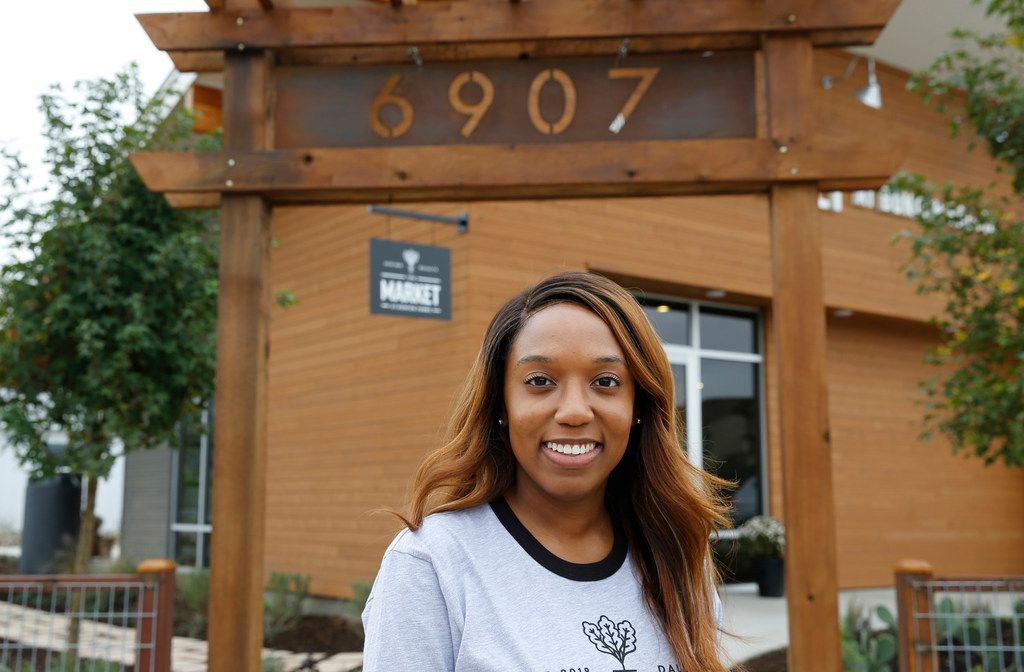 Keisha Wyatt, of the Dallas Mavericks' front office, stopped by the market Wednesday to talk about expanding operations in South Dallas -- before it has even opened.