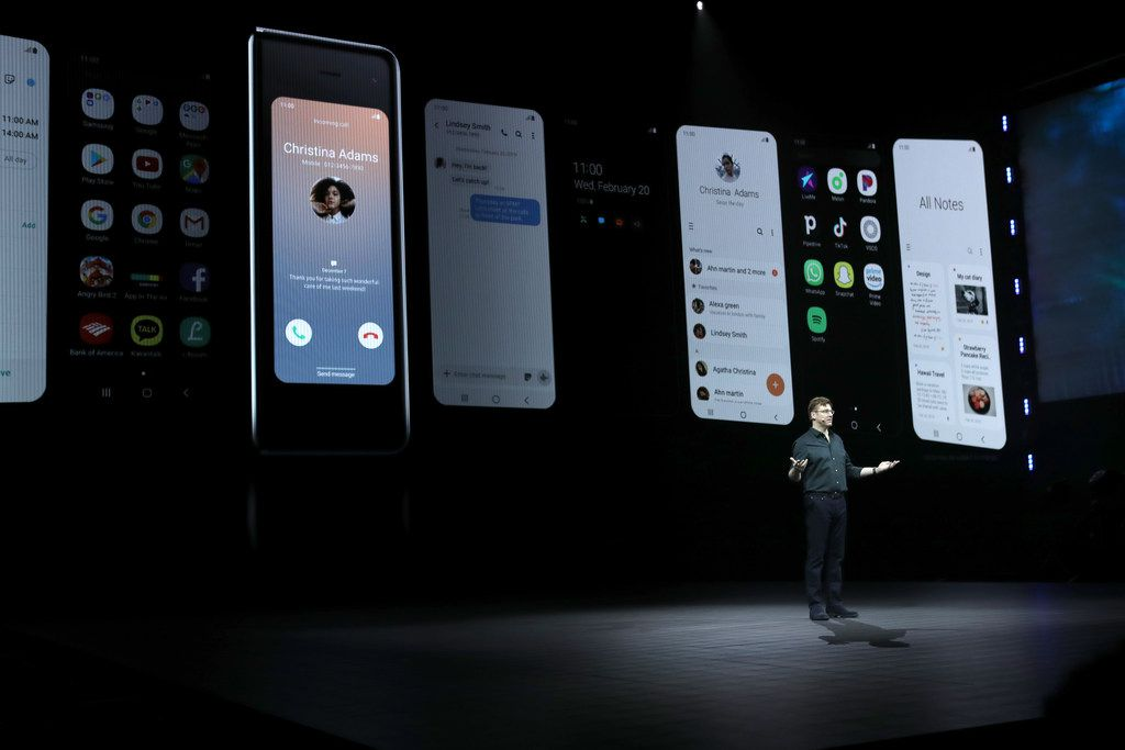 SAN FRANCISCO, CALIFORNIA - FEBRUARY 20: Samsung senior vice president of product marketing Justin Denison announces the new Samsung Galaxy Fold smartphone during the Samsung Unpacked event on February 20, 2019 in San Francisco, California. Samsung announced a new foldable smart phone. (Photo by Justin Sullivan/Getty Images)
