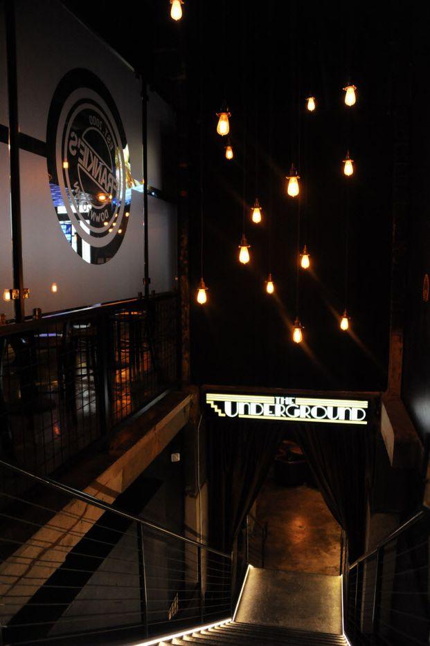 Stairs lead to Frankie's underground bar.