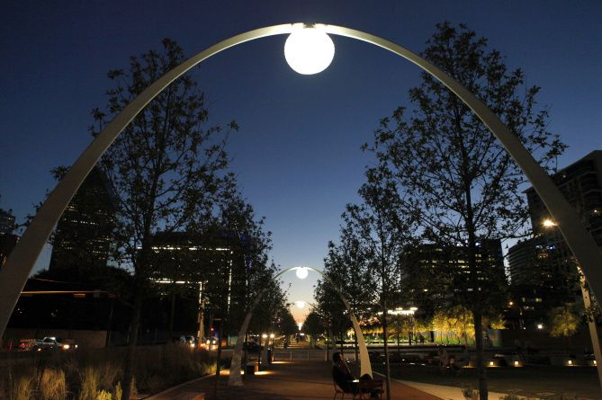 Klyde Warren Park spanning Woodall Rodgers Freeway in downtown Dallas.
