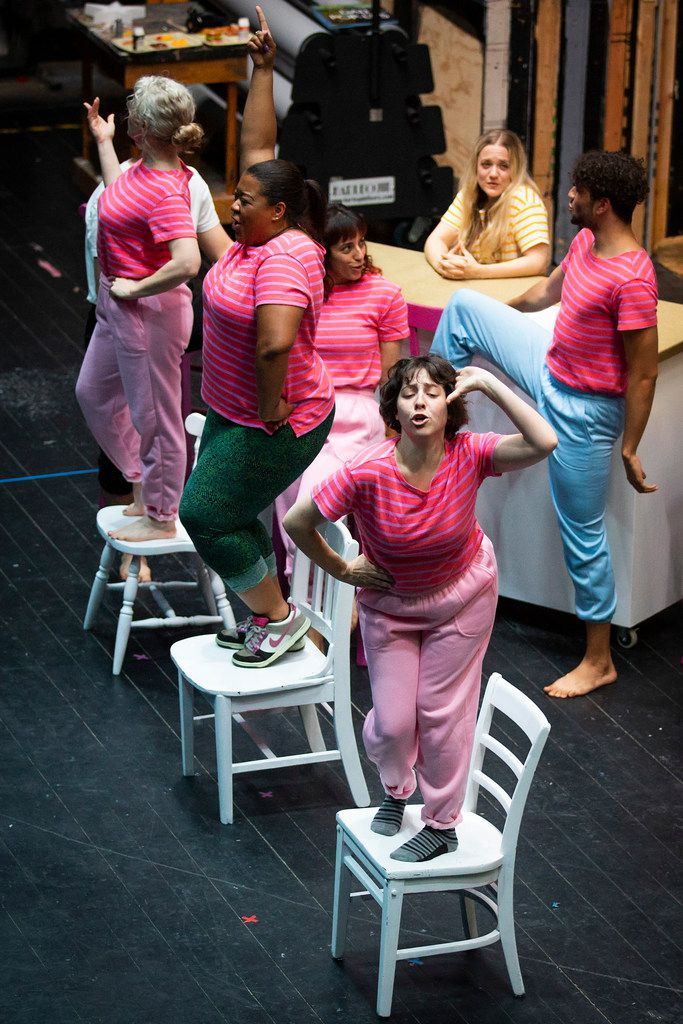 The largely female cast, clockwise from bottom, Marti Etheridge, Becki McDonald, Angela Davis, Danielle Georgiou, Kelli Howard and Colby Calhoun, rehearse a musical number from Just Girly Things, which deals primarily with how women treat one another. The latest show from the Danielle Georgiou Dance Group premieres at the Festival of Independent Theatres.