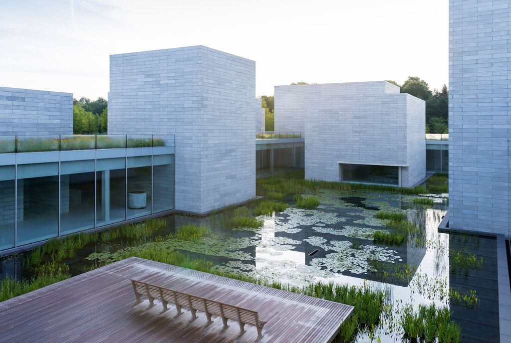 A water garden is situated outside the Pavilions, an addition to the Glenstone museum.