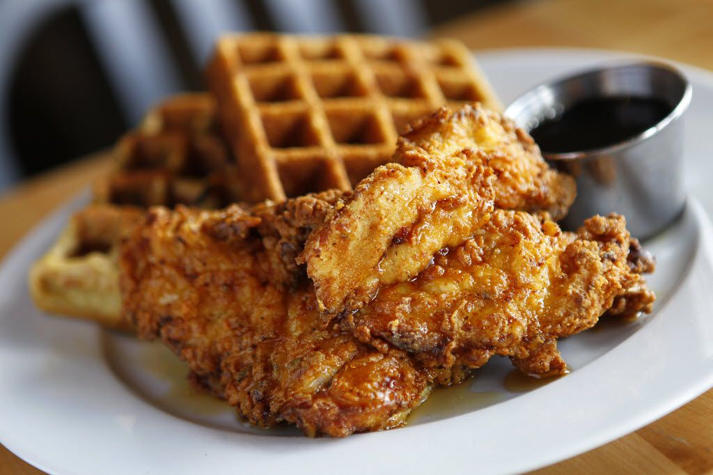 Chef Fred's gluten-free chicken and waffles, photographed at the Greenville Avenue Company Cafe