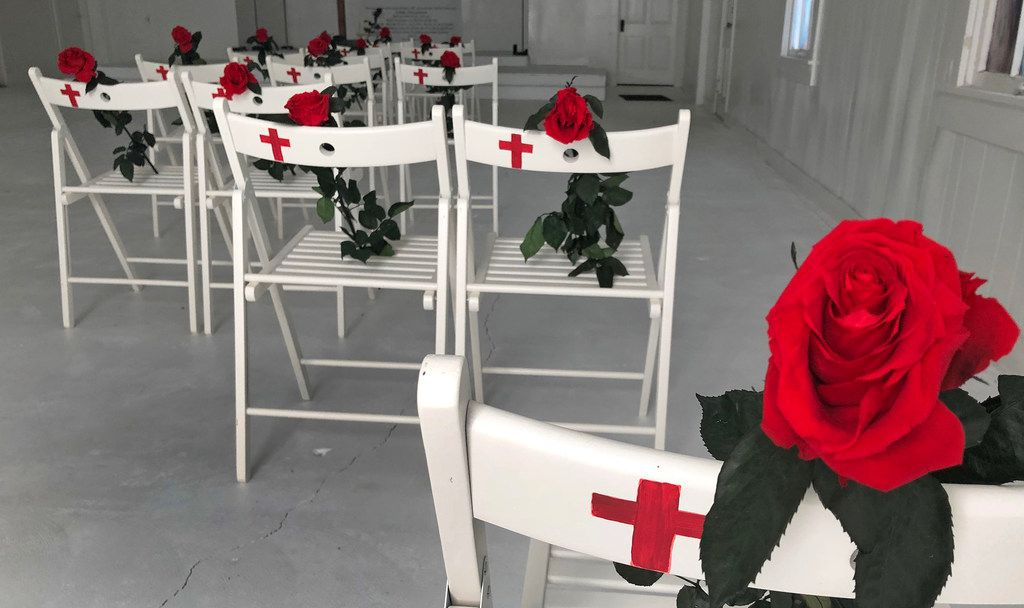 The chairs (center) where Kati Wall's parents, Dennis and Sara Johnson, were sitting when they were killed at the Sutherland Springs Baptist Church, are pictured at the building which is now a memorial in Sutherland Springs, Texas, on Friday, November 2, 2018. November 5 is the one-year anniversary of the attack at the church, where 26 people were killed by a lone gunman at a Sunday morning worship service. (Louis DeLuca/The Dallas Morning News)
