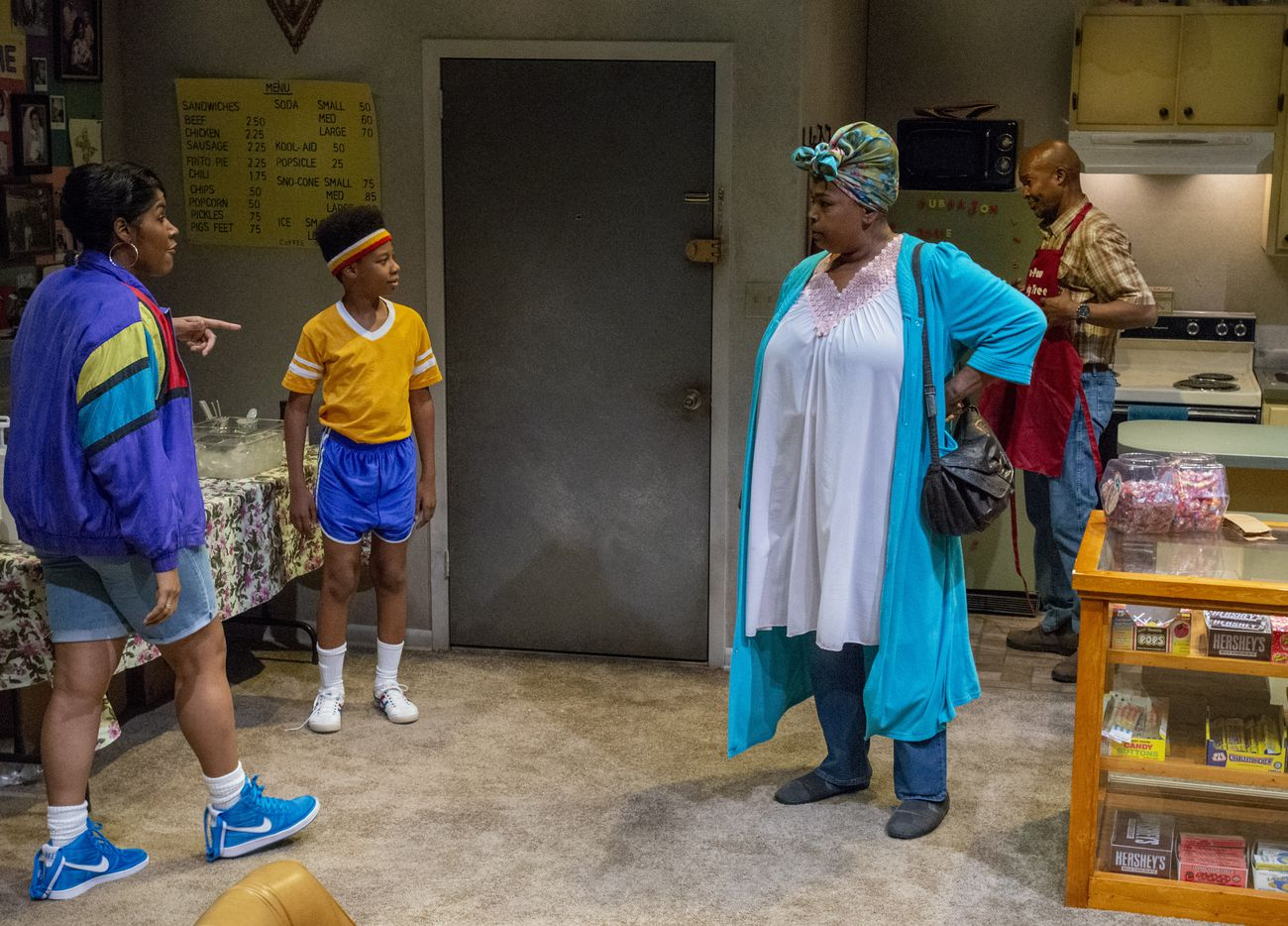 """From left: Claudia Logan, Esau Price, Liz Mikel and Leon Addison Brown perform a scene from the world premiere of Dallas playwright Jonathan Norton's play """"Penny Candy"""" on June 5 at the Wyly Theatre in Dallas."""