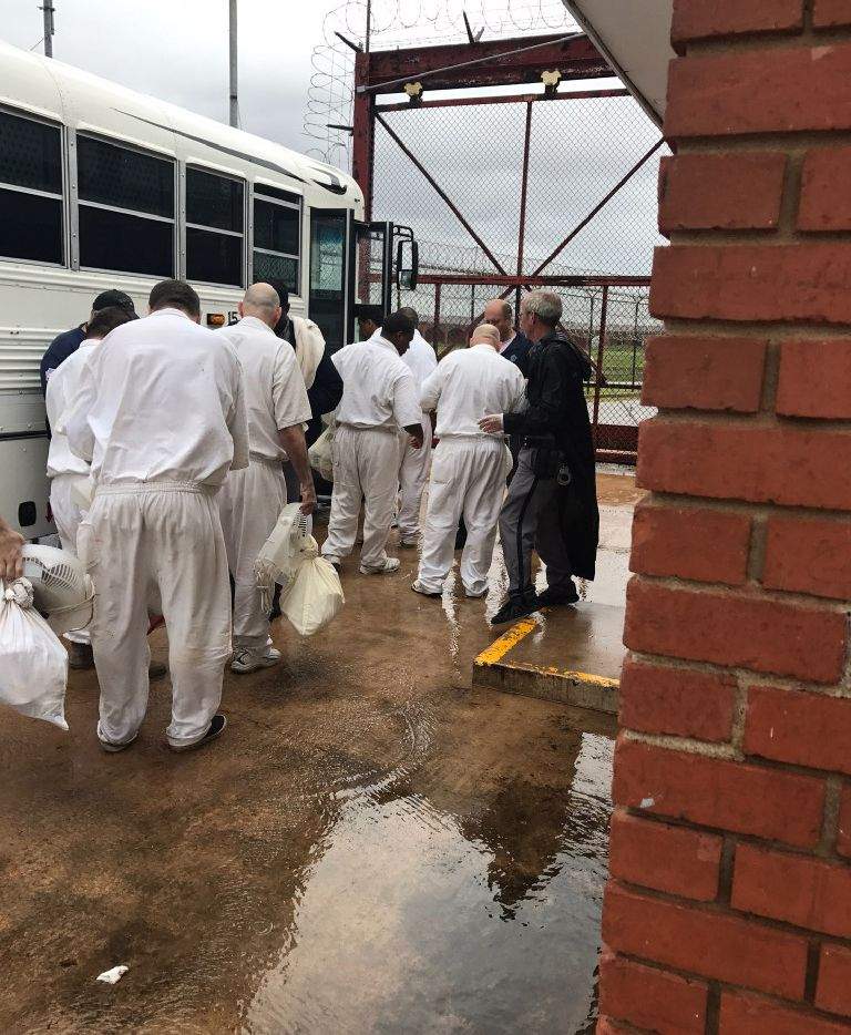 Prison inmates in Rosharon, Texas, were moved by bus from their unit in late August as Harvey approached. (Texas Department of Criminal Justice)