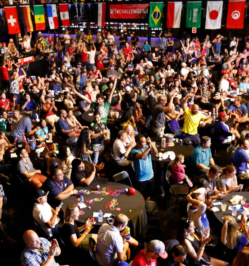 Croatia soccer fans celebrate a second half goal during a World Cup watch party at The Bomb Factory in Dallas, Sunday, July 15, 2018. France defeated Croatia, 2-1, in the championship game. (Tom Fox/The Dallas Morning News)