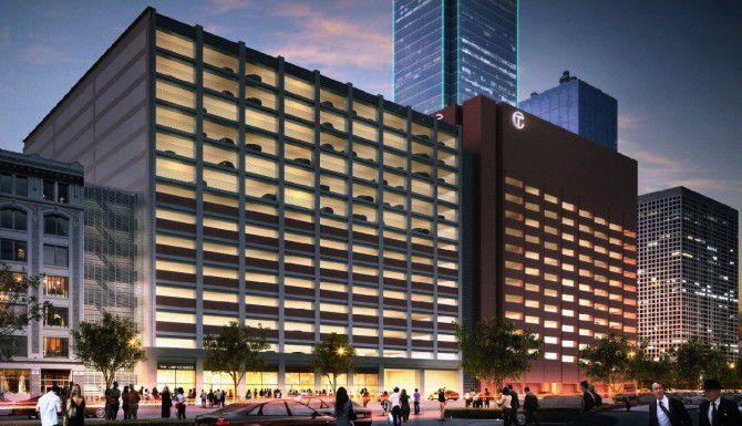 Esta es una representación artística de del garaje de 15 pisos que se construiría cerca del Bank of America Plaza en el centro de Dallas. (Corgan Associates/CORTESÍA)