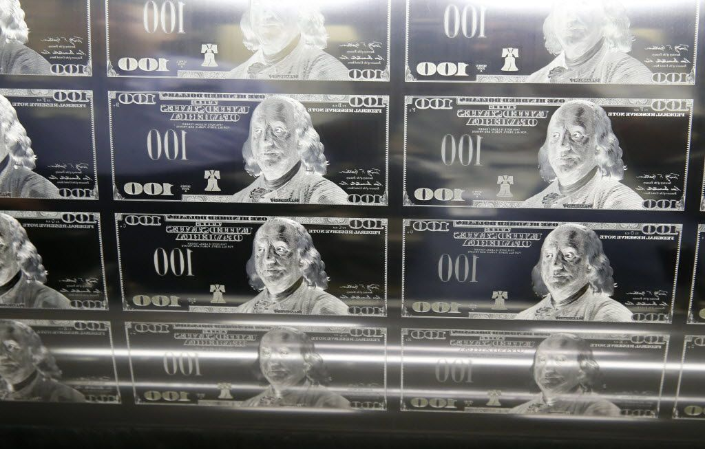 Detail of $100 printing plate used for printing $100 bills at the Bureau of Engraving and Printing in Fort Worth on Wednesday, April 20, 2016. (Vernon Bryant/The Dallas Morning News)