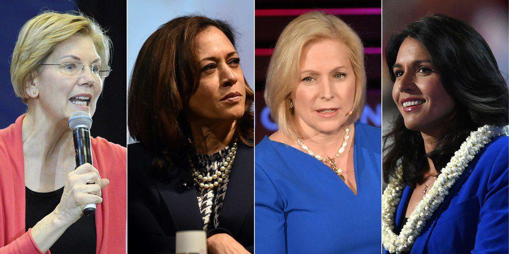 From left: U.S. Sen. Elizabeth Warren, D-Mass.;  U.S. Sen. Kamala Harris, D-Calif.;  U.S. Sen. Kirsten Gillibrand, D-N.Y.;  and U.S. Rep. Tulsi Gabbard, D-Hawaii.